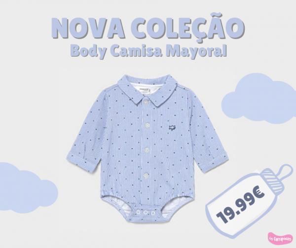 body/camisa dos 0/1 meses aos 6/9 meses